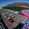 Austin Dillon, Kevin Harvick, Kyle Busch and Denny Hamlin lead them to the green at Auto Club Speedway