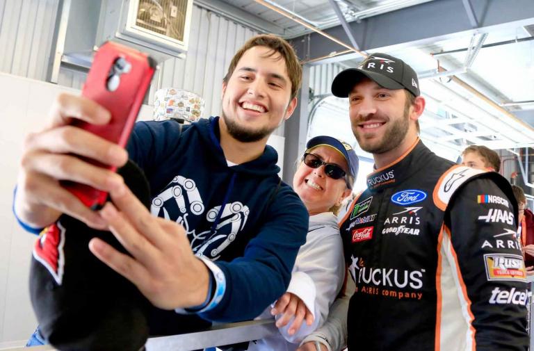 Daniel Suarez greets NASCAR fans