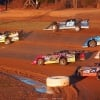 Don O'Neal, Jason Jameson, Josh Richards and Billy Moyer Jr at Brownstown Speedway 0756