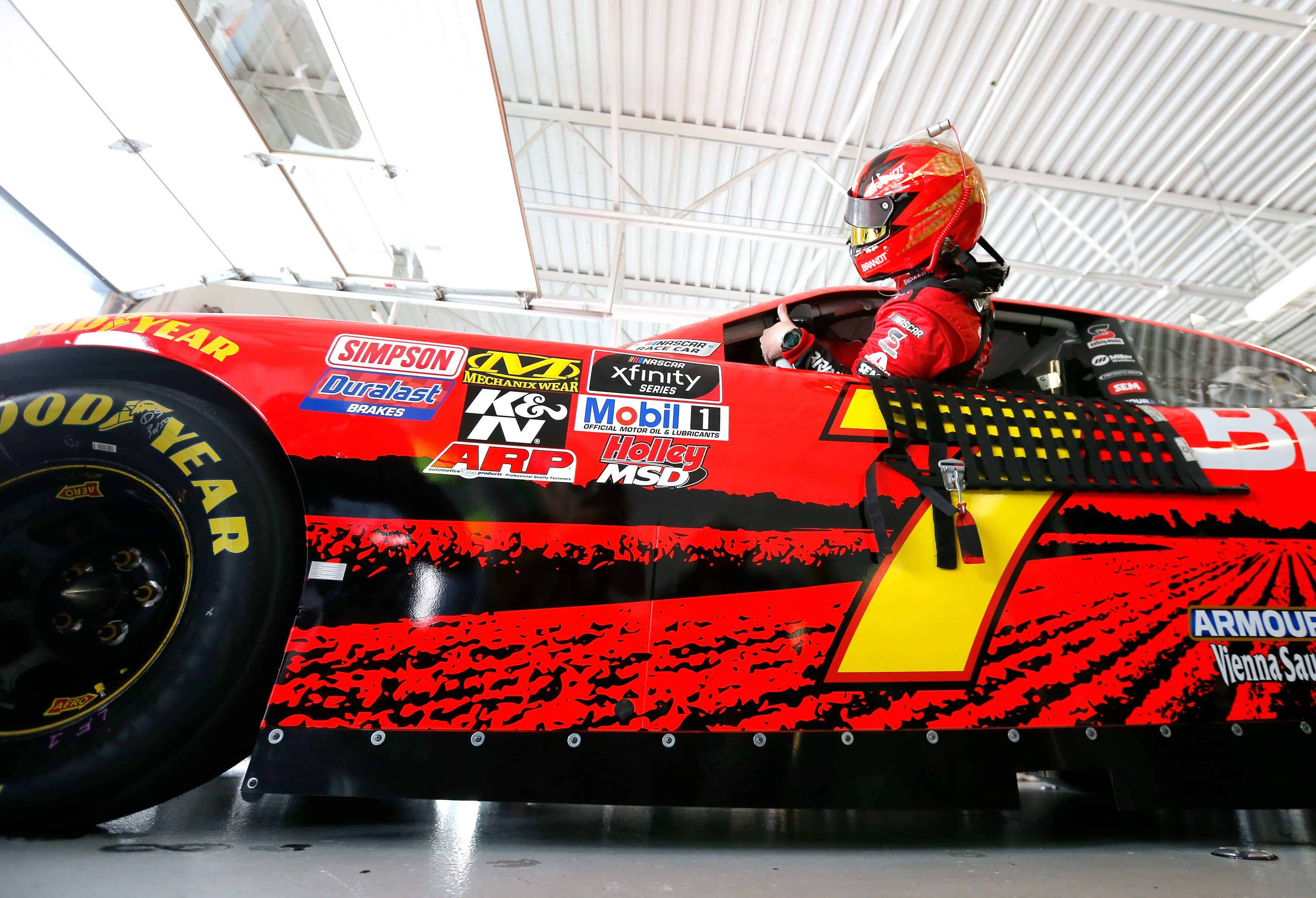 Justin Allgaier in the NASCAR Xfinity Series garage area