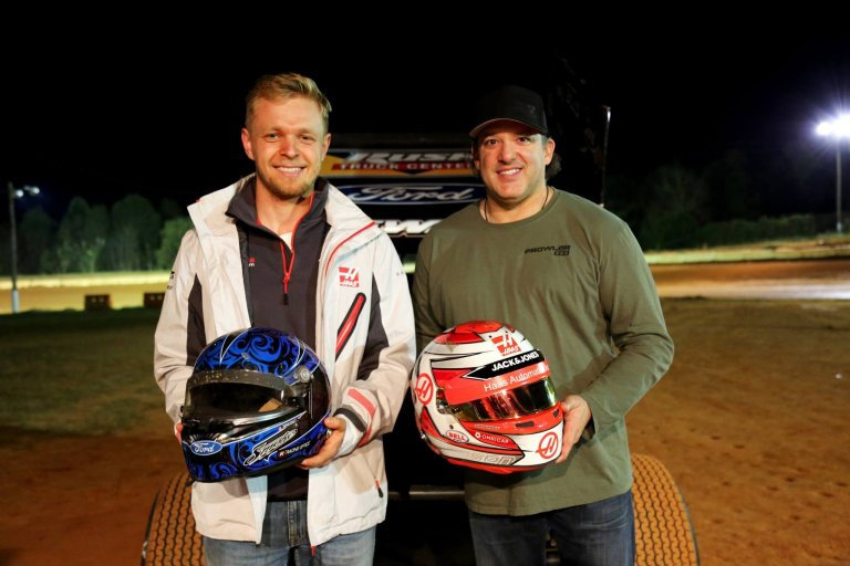 Kevin Magnussen and Tony Stewart at Carolina Speedway in North Carolina