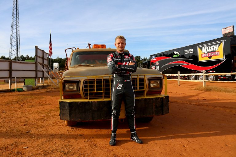 Kevin Magnussen at the dirt track