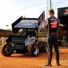 Kevin Magnussen drives the Stewart-Haas Racing sprint car at Carolina Speedway