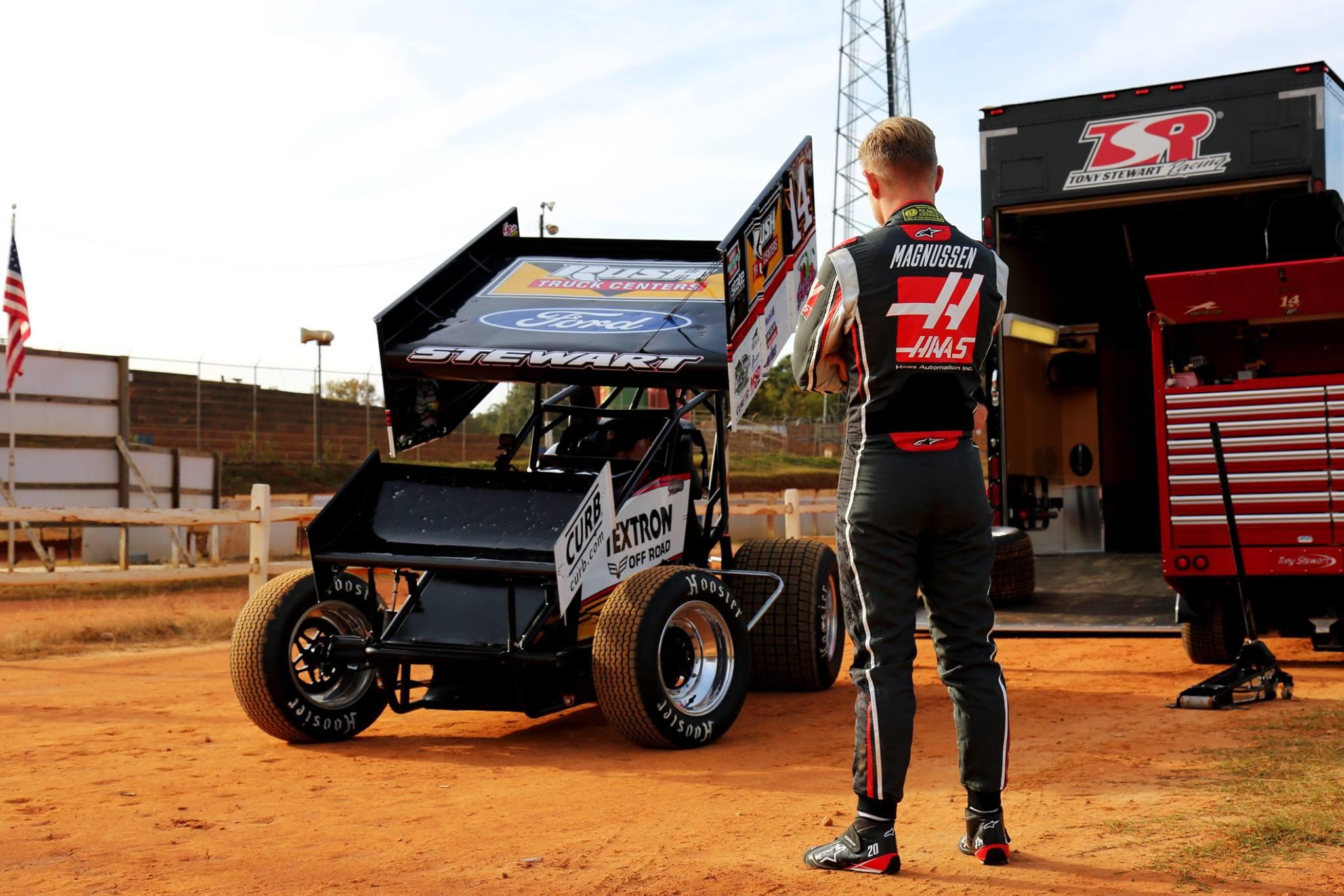 Kevin Magnussen drives the Stewart-Haas Racing sprint car at Carolina Speedway