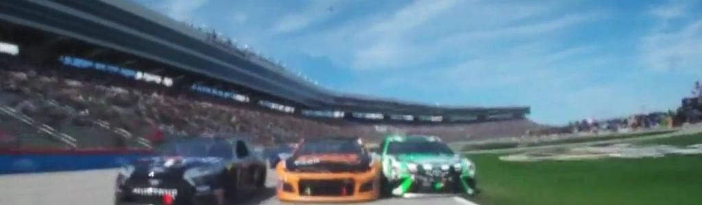 Kyle Busch made a bold pass through the grass at Texas Motor Speedway (Video)