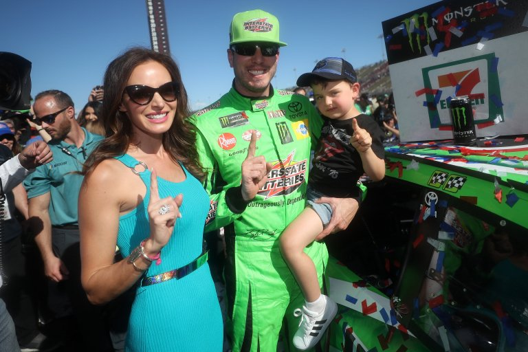 Kyle Busch, Samantha Busch and son Brexton - Auto Club Speedway