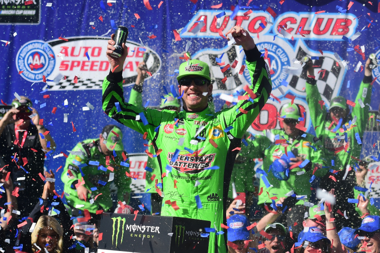 Kyle Busch in victory lane at Auto Club Speedway