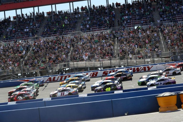 NASCAR five wide salute at Auto Club Speedway