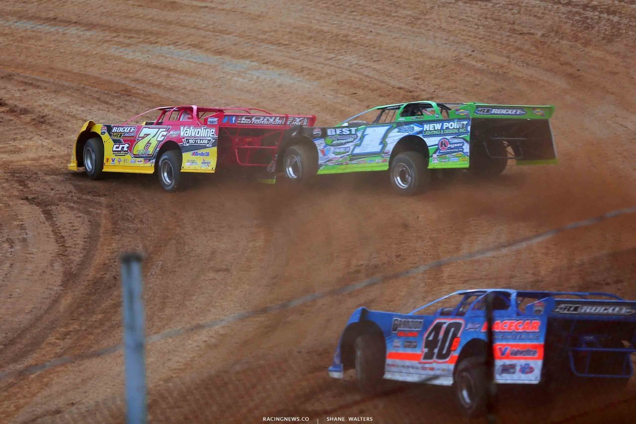 RJ Conley, Tyler Erb and Kyle Bronson at Atomic Speedway - Lucas Oil Late Model Dirt Series 2305