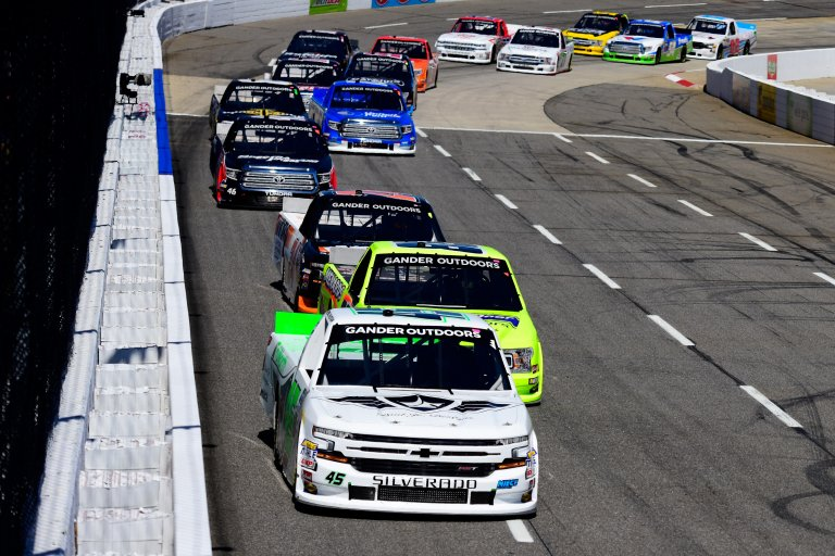 Ross Chastain leads in the NASCAR Truck Series race at Martinsville Speedway