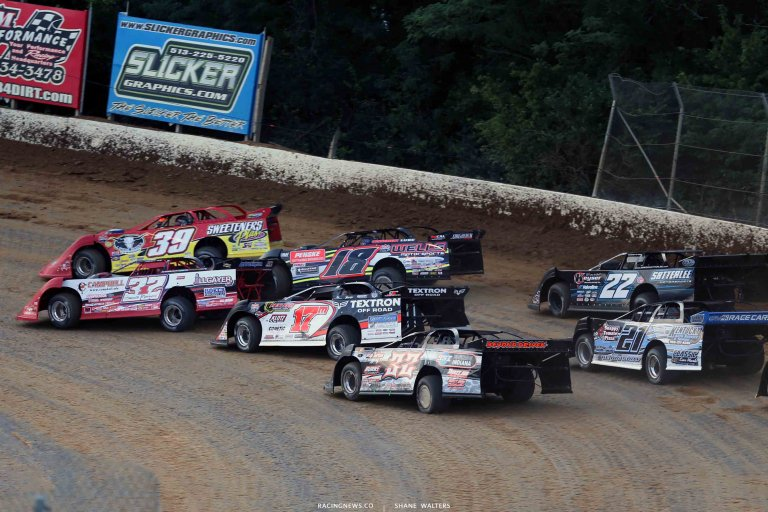 Bobby Pierce, Tim McCreadie, Eric Wells, Dale McDowell and Gregg Satterlee at Florence Speedway 5087
