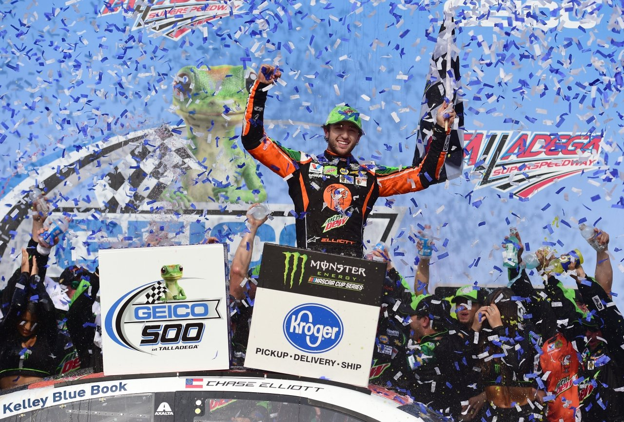 Chase Elliott in victory lane at Talladega Superspeedway