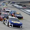 Chase Elliott leads Erik Jones and William Byron at Bristol Motor Speedway