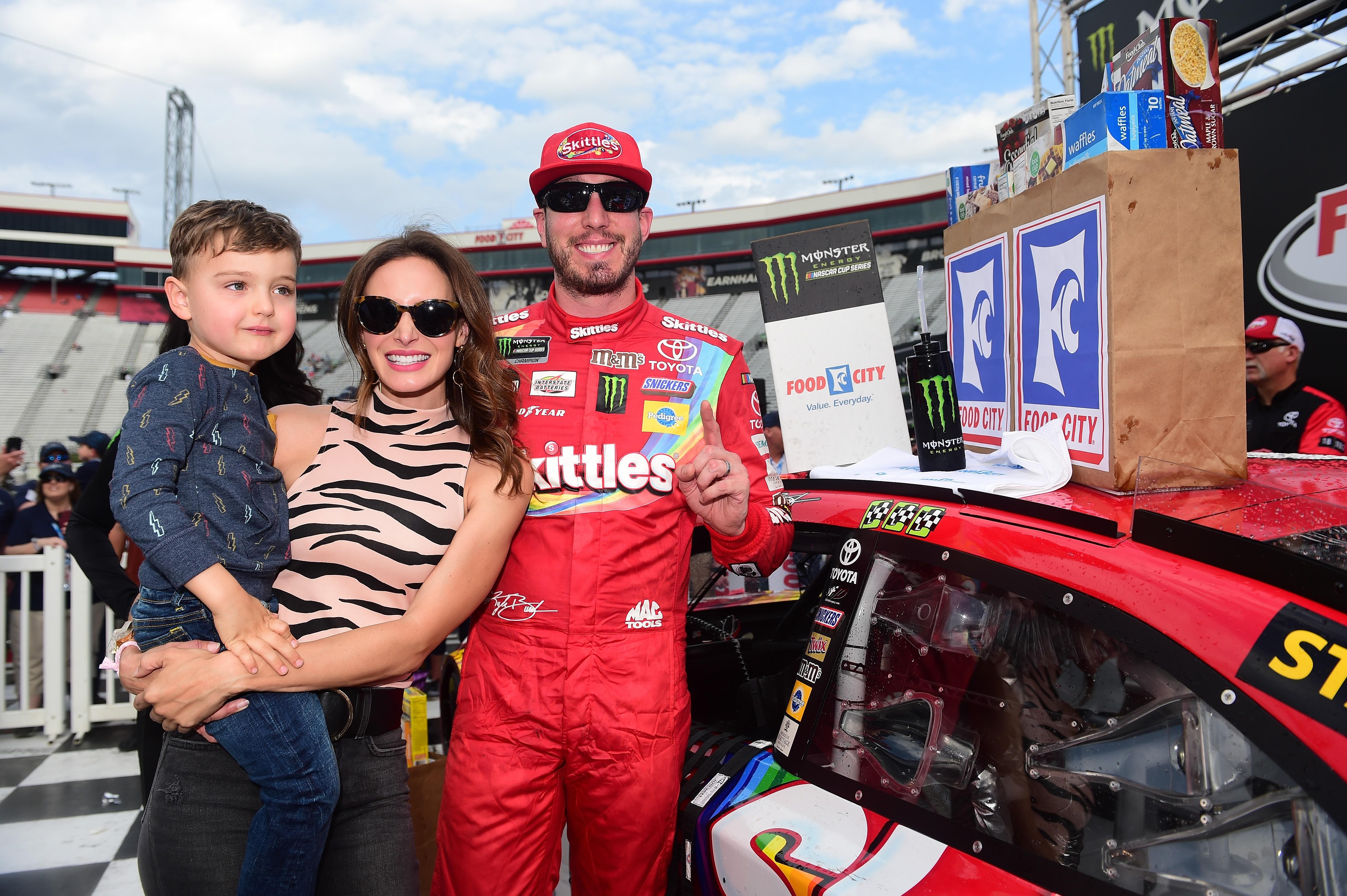 Kyle Busch, Samantha Busch and Brexton Busch - NASCAR