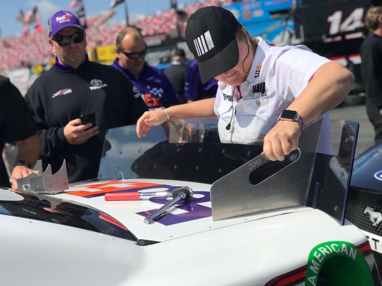 NASCAR Tech Inspection at Talladega Superspeedway - Denny Hamlin