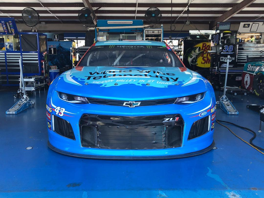 Bubba Wallace in the NASCAR garage area