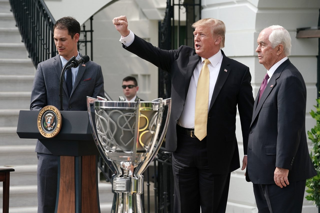 Donald Trump welcomes Joey Logano and Roger Penske to the White House