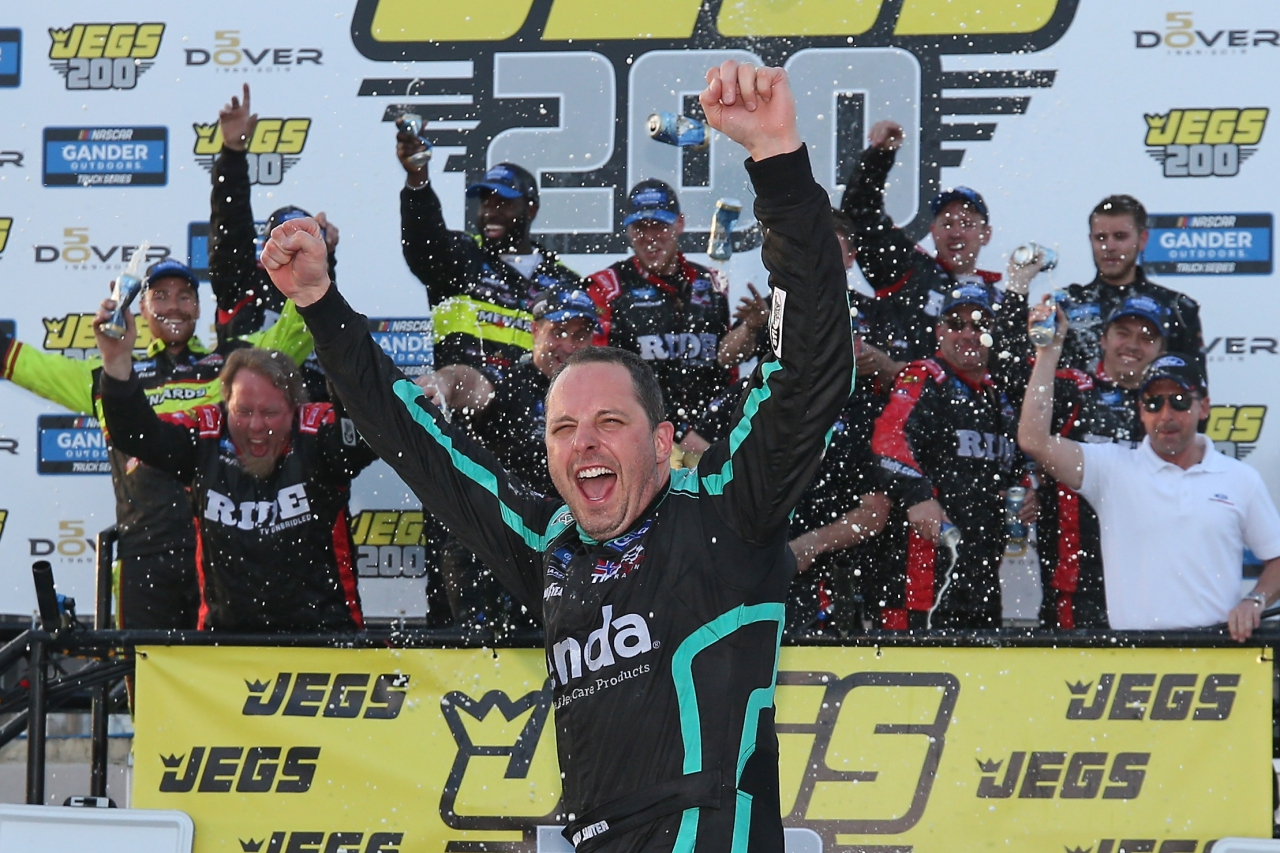 Johnny Sauter in victory lane at Dover International Speedway for ThorSport Racing