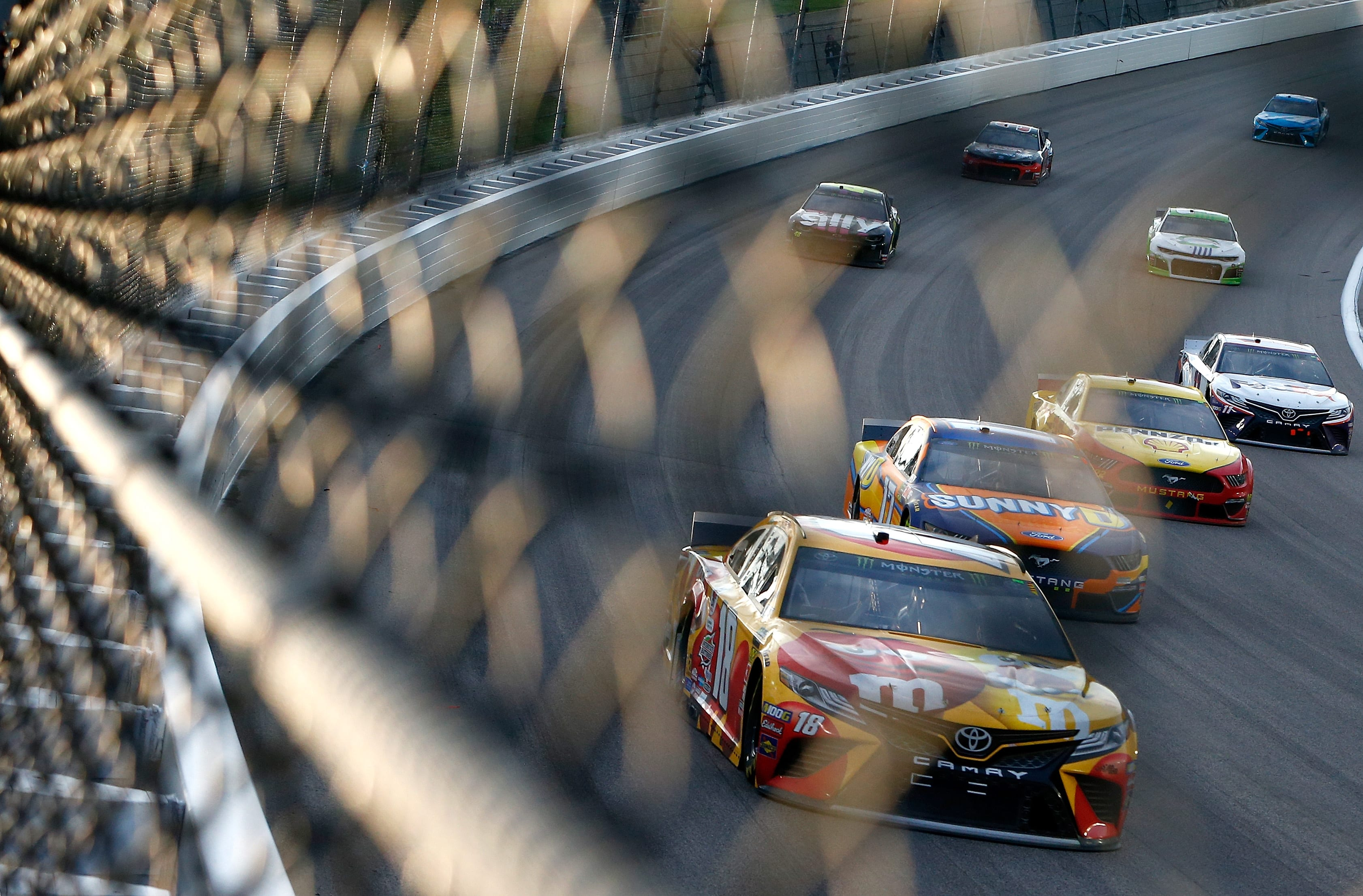 Kyle Busch, Ricky Stenhouse Jr, Joey Logano and Denny Hamlin at Kansas Speedway - NASCAR