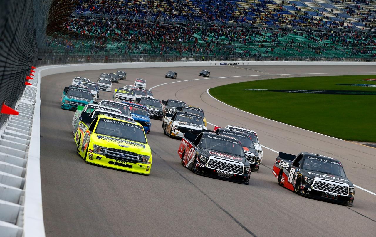 Matt Crafton, Tyler Ankrum and Harrison Burton at Kansas Speedway - NASCAR Truck Series