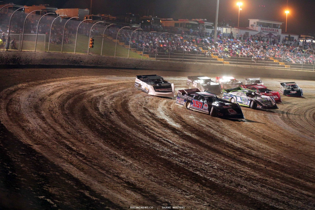 Mike Marlar, Tyler Erb, Shanon Buckingham and Earl Pearson Jr in The Clash at The Mag - Lucas Oil Late Model Dirt Series 4361
