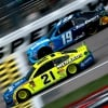 Paul Menard and Martin Truex Jr at Kansas Speedway