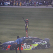 Alex Bowman gets stuck in the grass after winning his first NASCAR race at Chicagoland Speedway