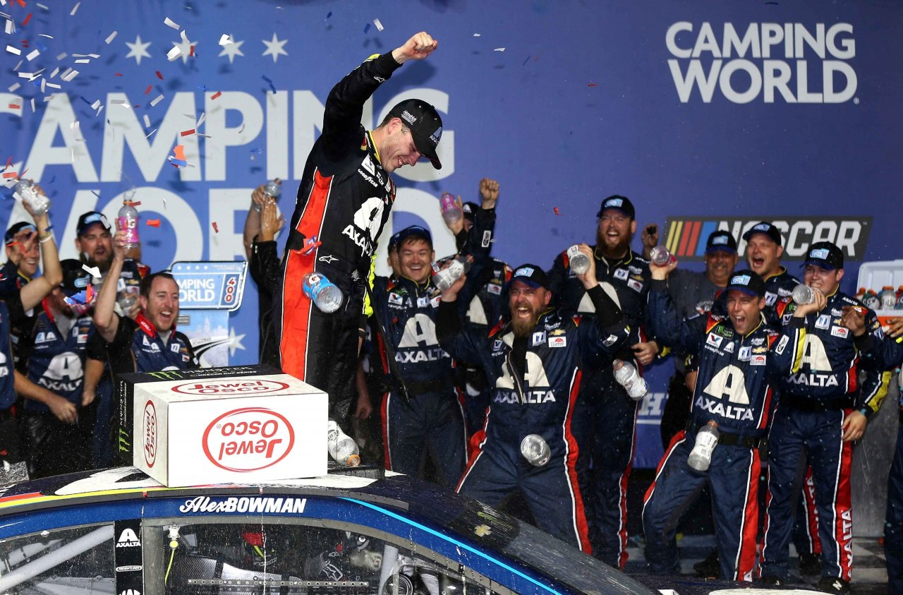 Alex Bowman in victory lane for his first NASCAR win