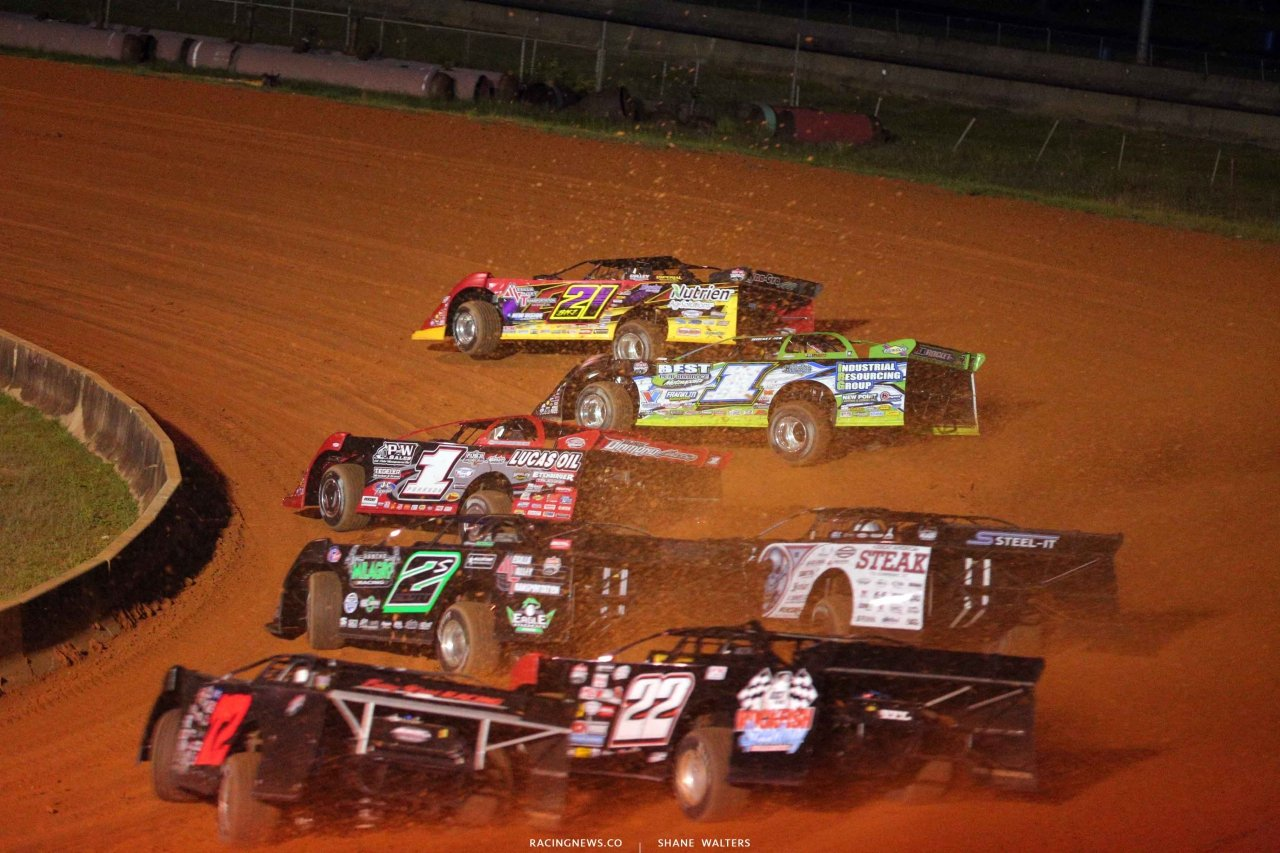 Billy Moyer Jr, Tyler Erb, Earl Pearson Jr, Stormy Scott and Scott Bloomquist at Fayetteville Motor Speedway - LOLMDS 5052