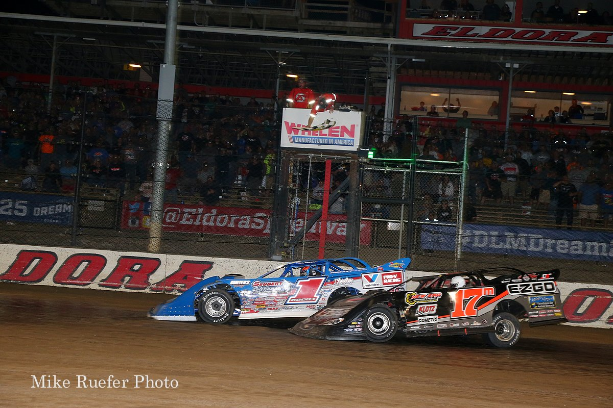 Brandon Sheppard and Dale McDowell - Photo finish at Eldora Speedway