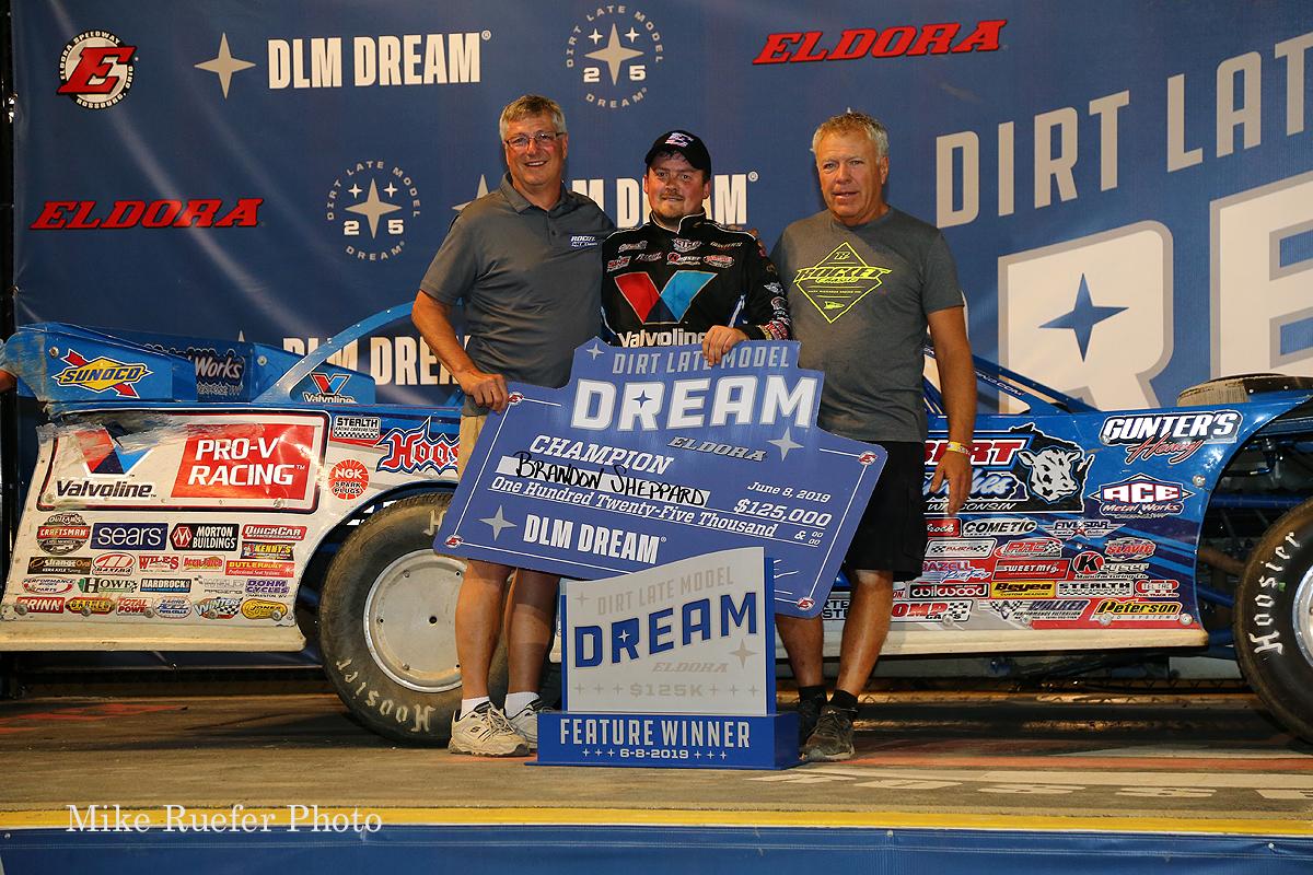 Brandon Sheppard and Mark Richards in Eldora Speedway victory lane