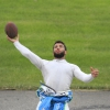 Bubba Wallace throws football with NASCAR fans