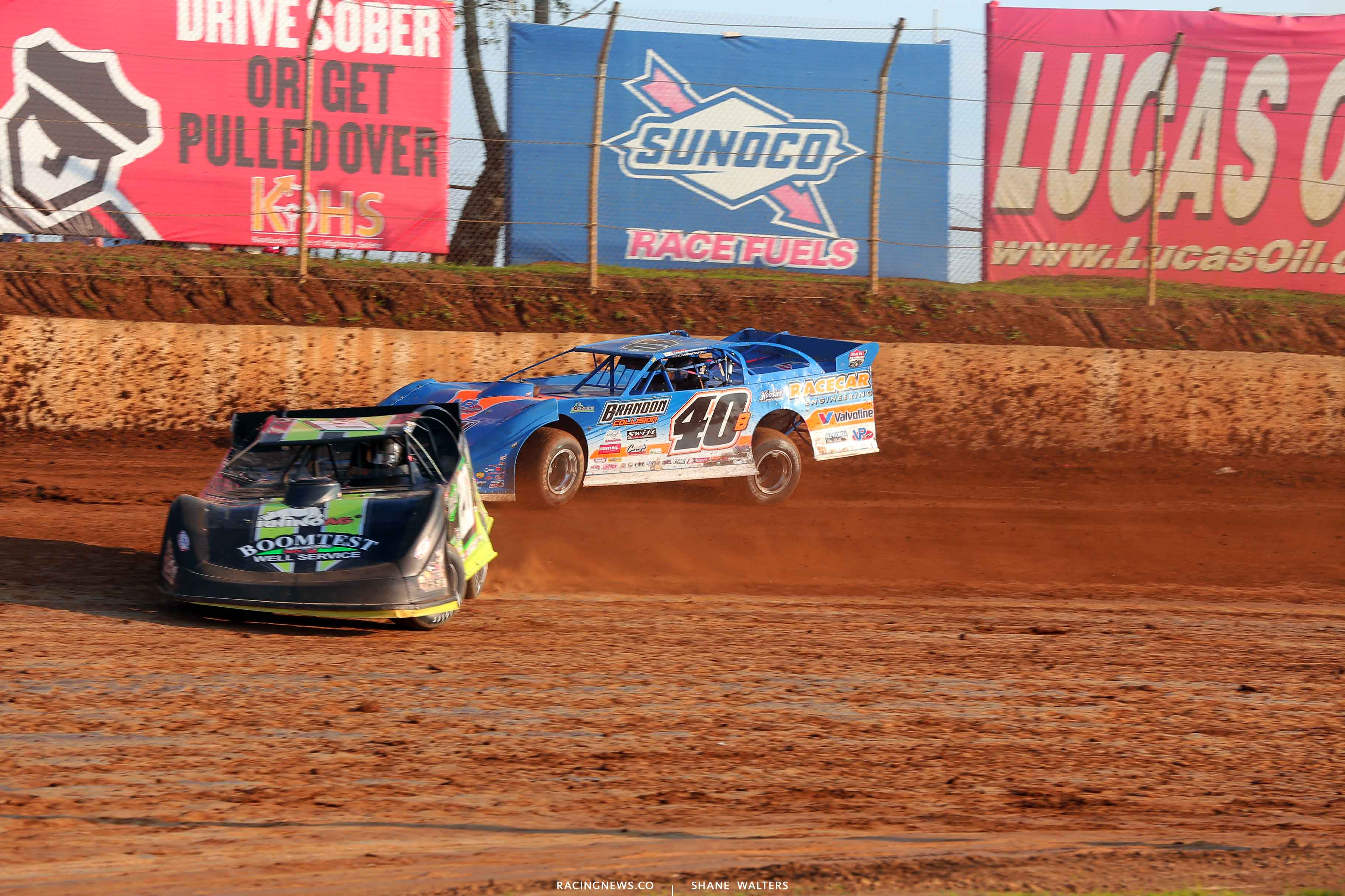 Jimmy Owens and Kyle Bronson at Florence Speedway - Lucas Oil Late Models 6921