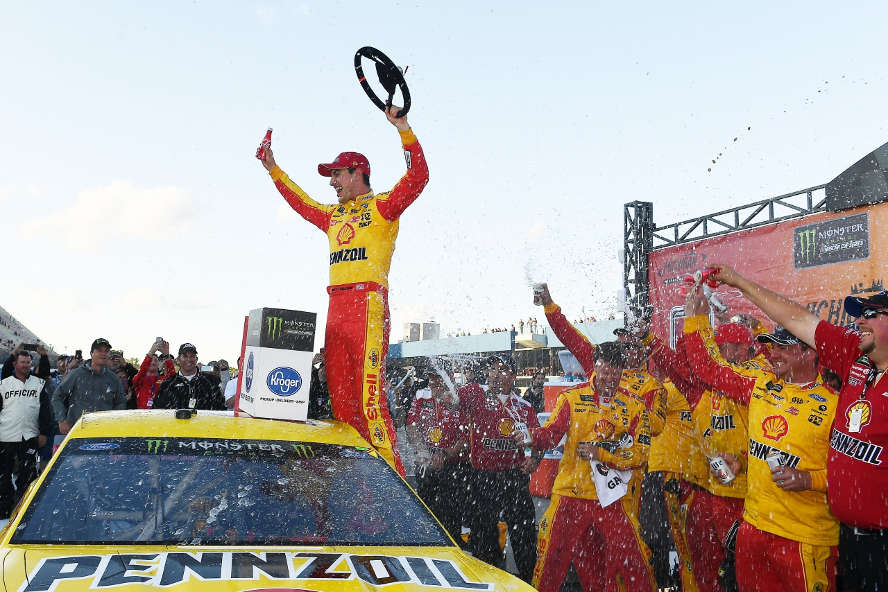 Joey Logano in victory lane