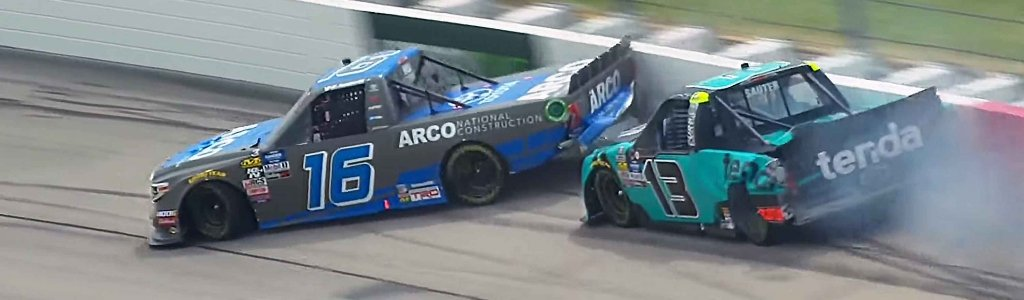Johnny Sauter crashes Austin Hill under caution at Iowa Speedway (Video)