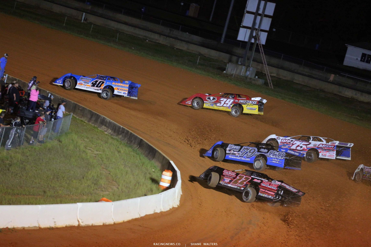 Kyle Bronson, Tim McCreadie, Michael Brown, Donald Bradsher and Chris Ferguson at Fayetteville Motor Speedway - Lucas Oil Series 5137