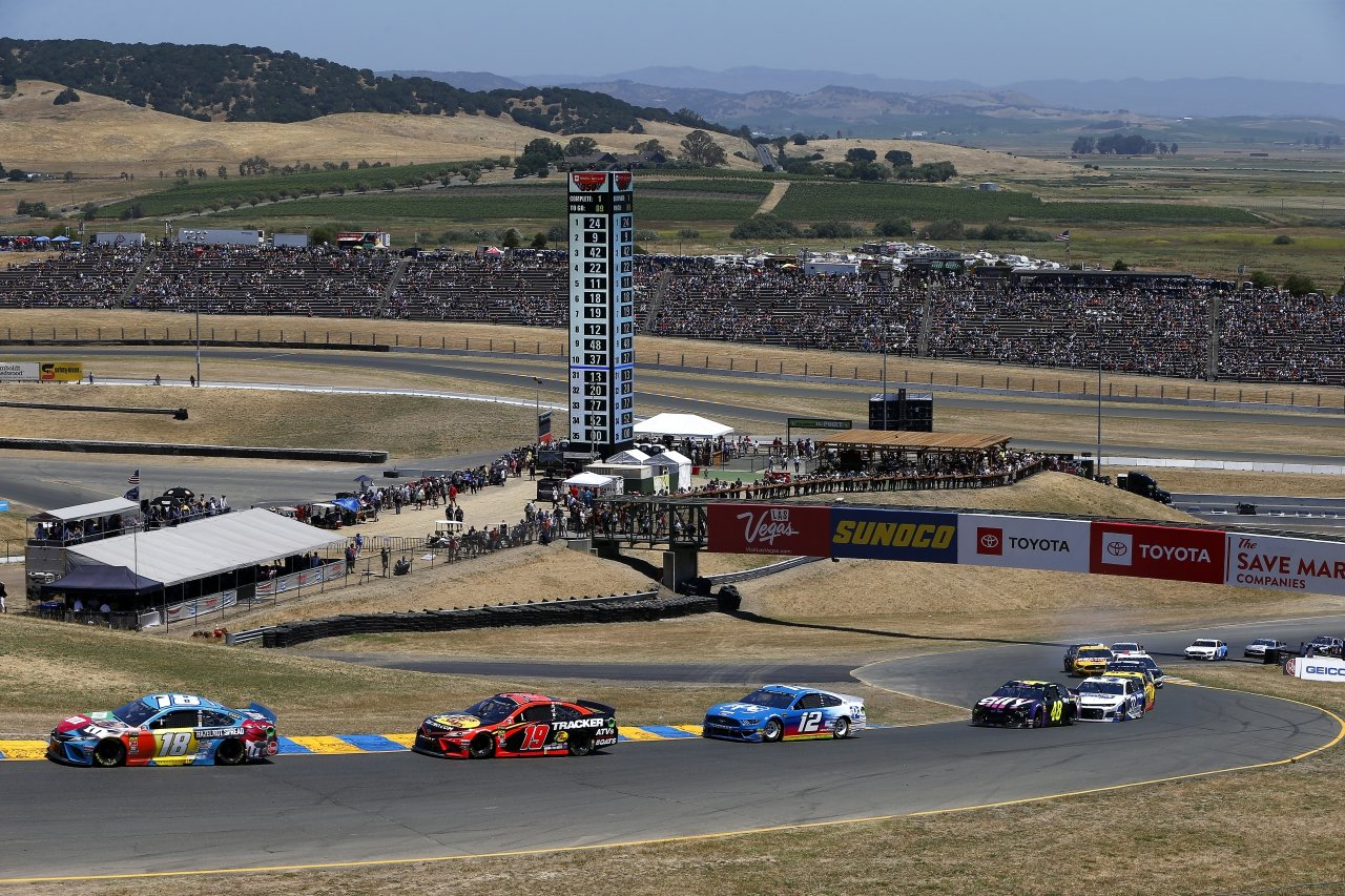 Kyle Busch, Martin Truex Jr and Ryan Blaney at Sonoma Raceway - NASCAR Road Course