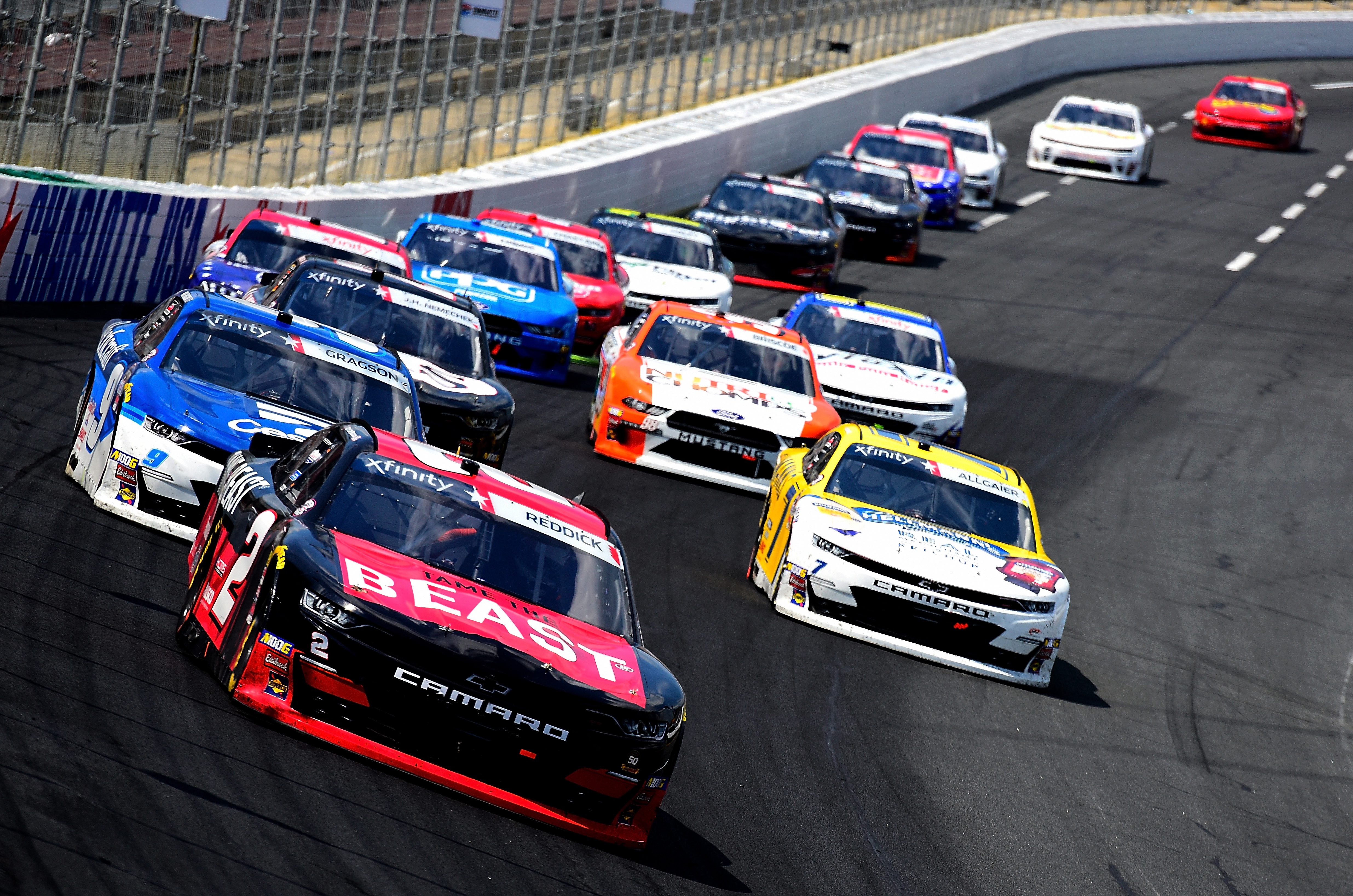 Tyler Reddick, Noah Gragson and Justin Allgaier at Charlotte Motor Speedway - NASCAR Xfinity Series