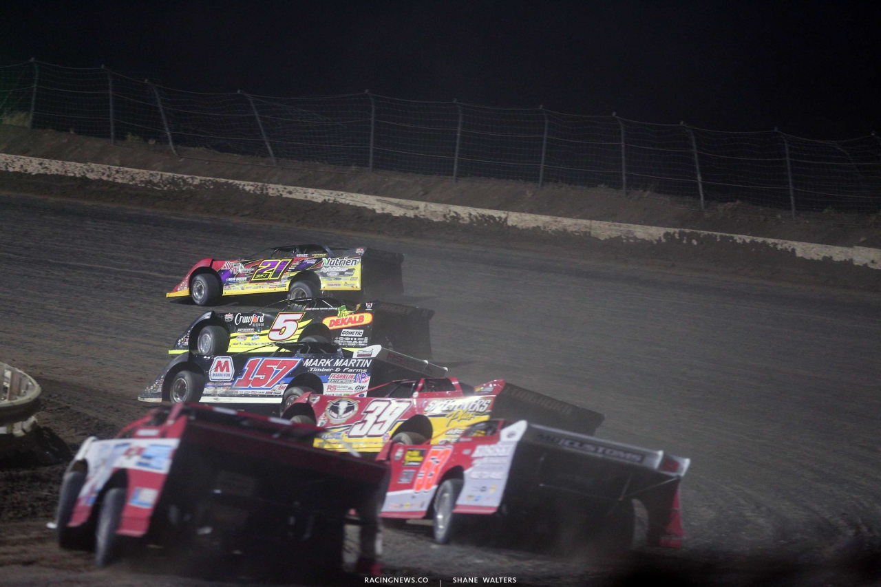 Billy Moyer, Michael Norris, Mike Marlar and Tim McCreadie in the Silver Dollar Nationals at I-80 Speedway 2600