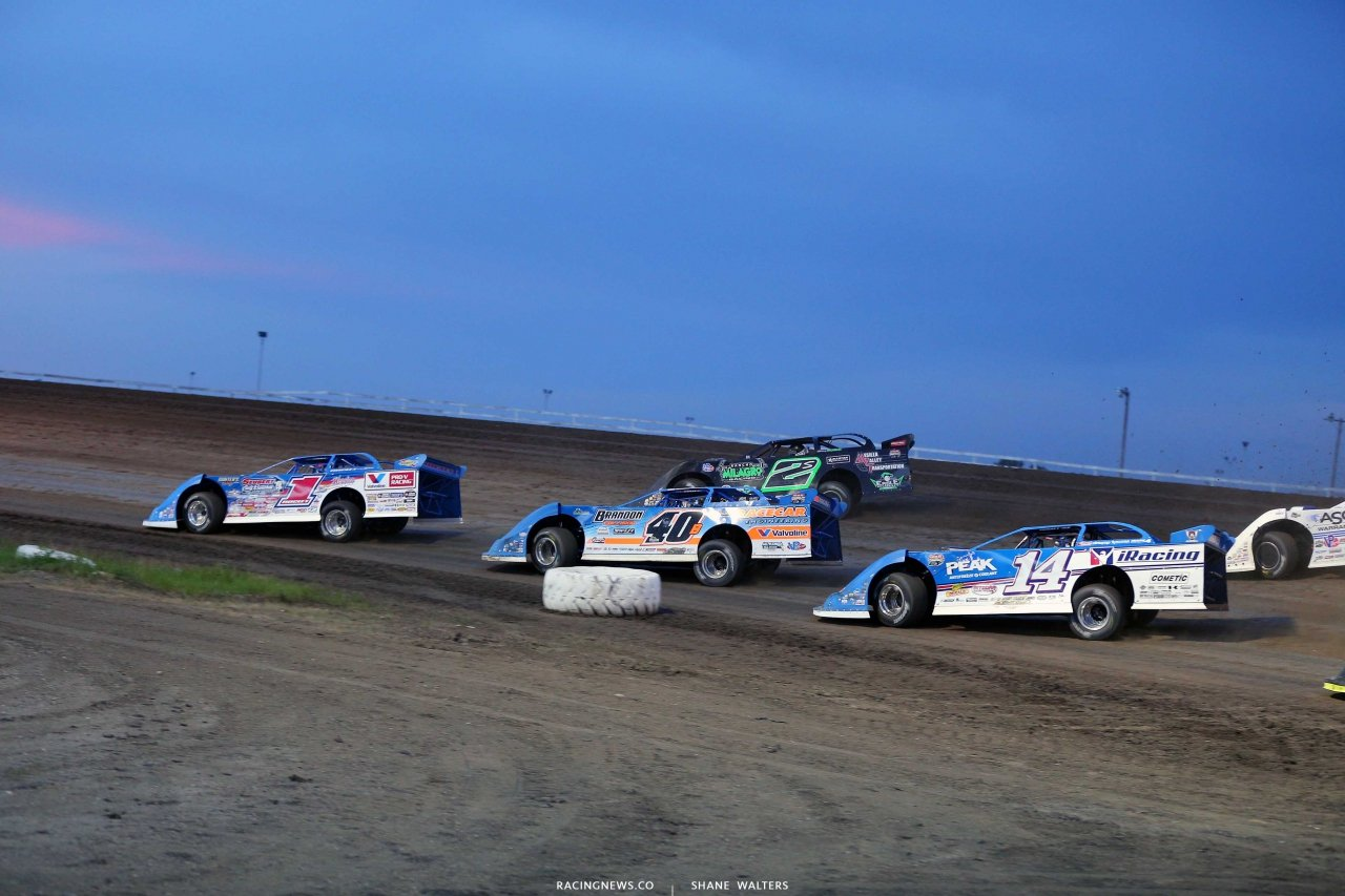 Brandon Sheppard, Stormy Scott, Kyle Bronson and Josh Richards at Brown County Speedway - Lucas Oil Late Model Series 1352