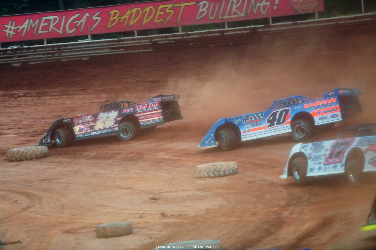 Chris Ferguson and Kyle Bronson at Tyler County Speedway - Lucas Oil Late Models 7965