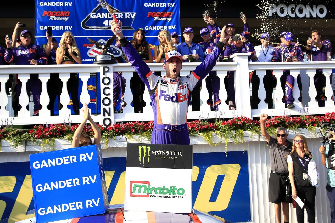 Denny Hamlin in Pocono Raceway victory lane