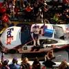 Denny Hamlin in victory lane at New Hamshire Motor Speedway