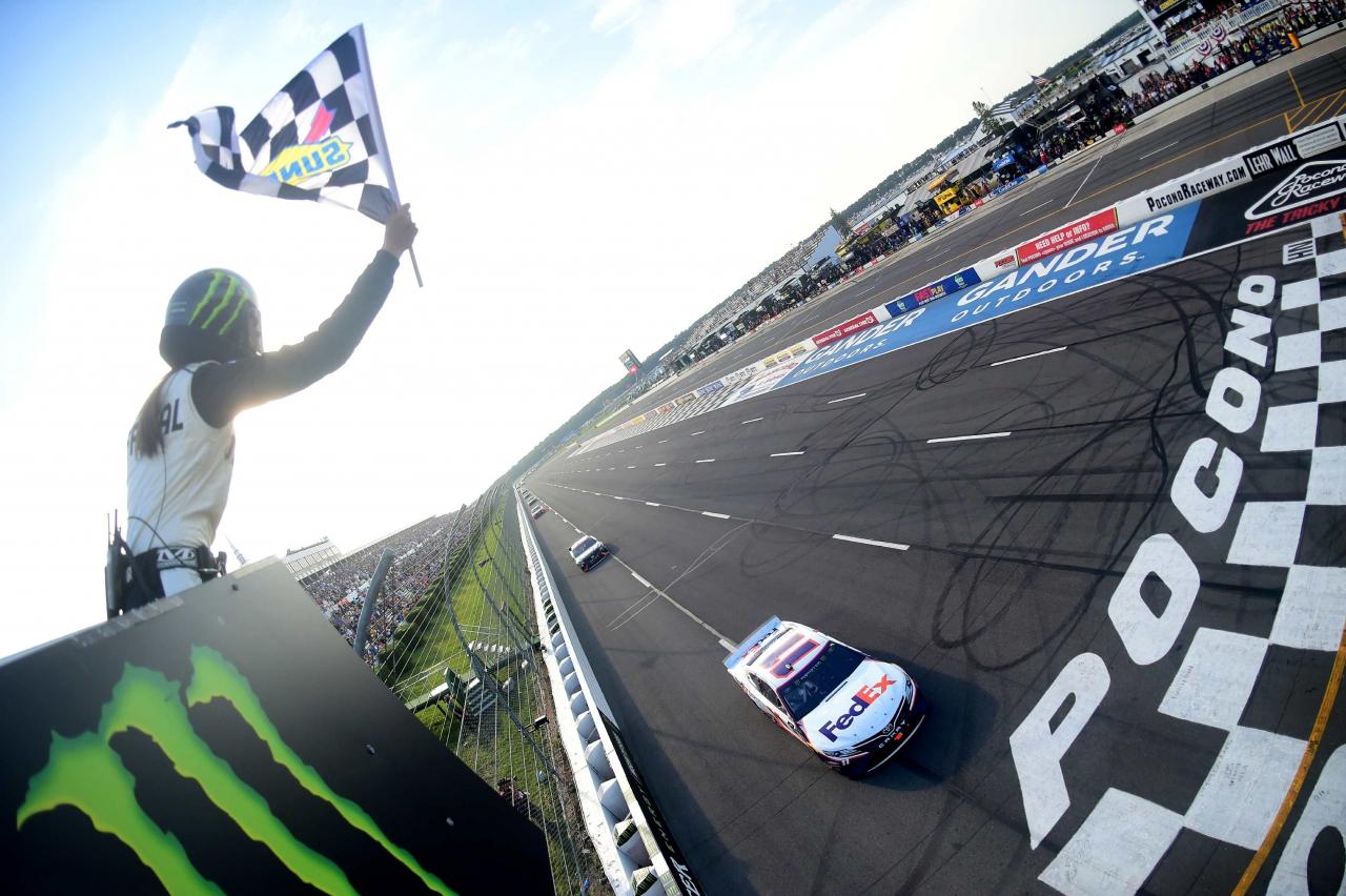 Denny Hamlin wins at Pocono Raceway