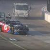 Dillon Bassett hits the sweeper truck at Iowa Speedway