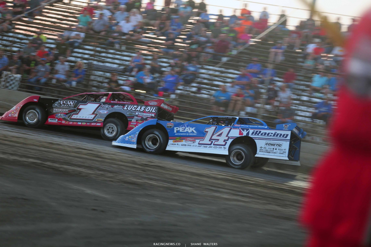 Earl Pearson Jr and Josh Richards at Tri-City Speedway - Lucas Oil Series 8581