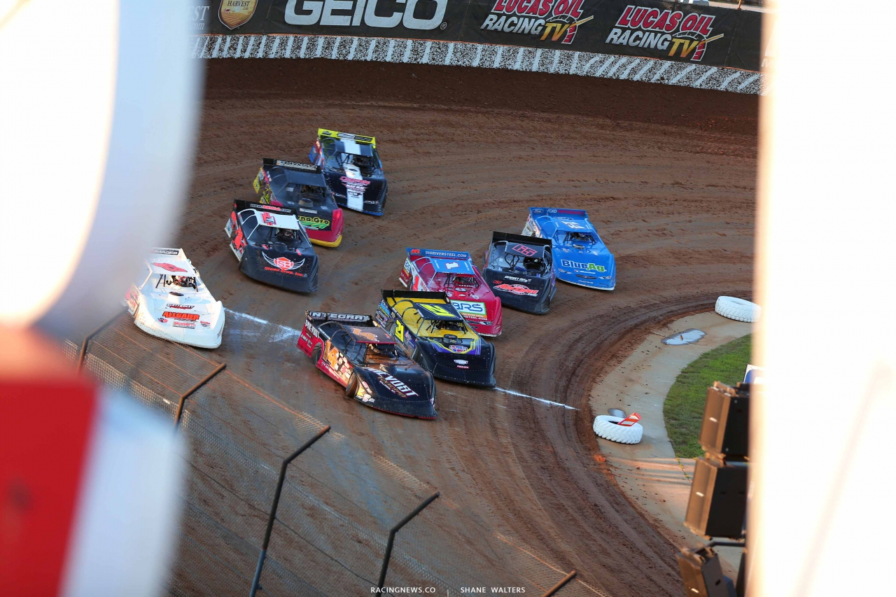 Jake Neal, Billy Moyer Sr, Billy Moyer Jr, Devin Moran and Josh Richards at Lucas Oil Speedway - Lucas Dirt 0013