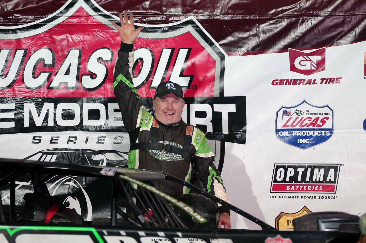 Jimmy Owens in victory lane at Tri-City Speedway 9577