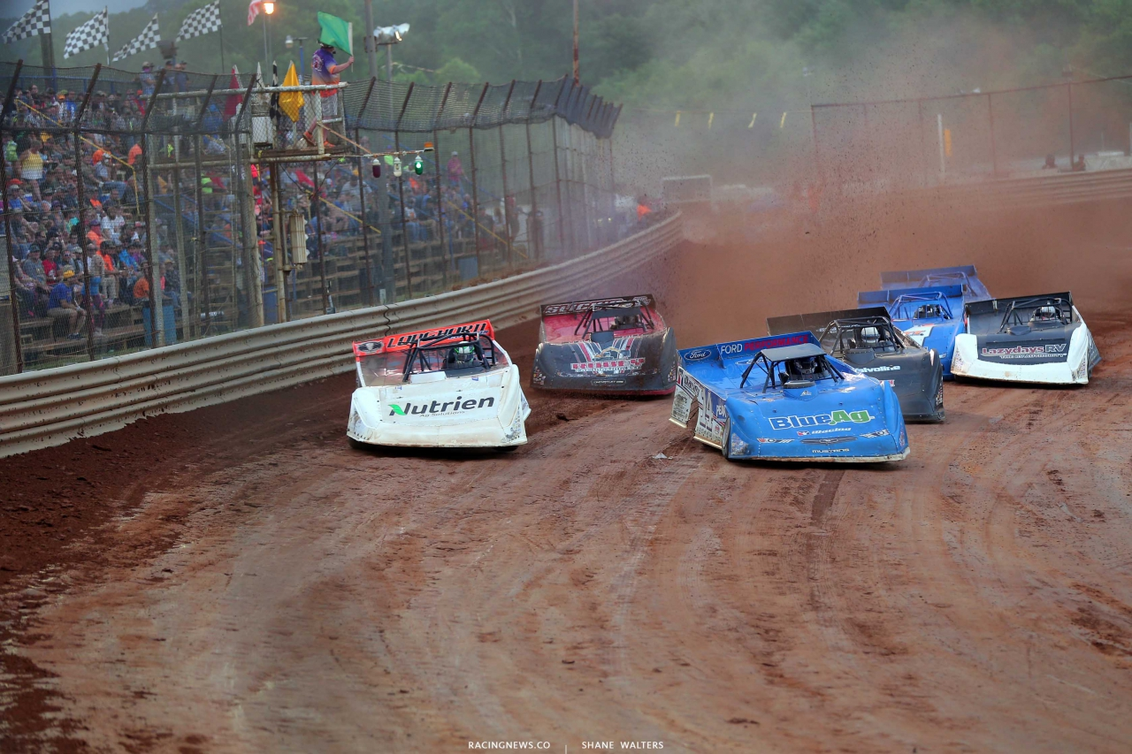 Jonathan Davenport, Josh Richards, Gregg Satterlee and Shanon Buckingham at Tyler County Speedway - Lucas Series 7898