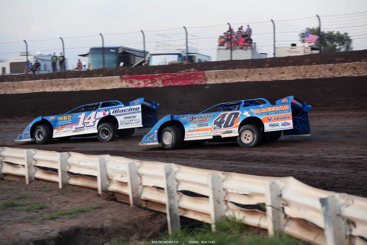Josh Richards and Kyle Bronson in the Silver Dollar Nationals at I-80 Speedway - LOLMDS 2647